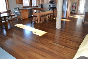 Hickory flooring with custom stain