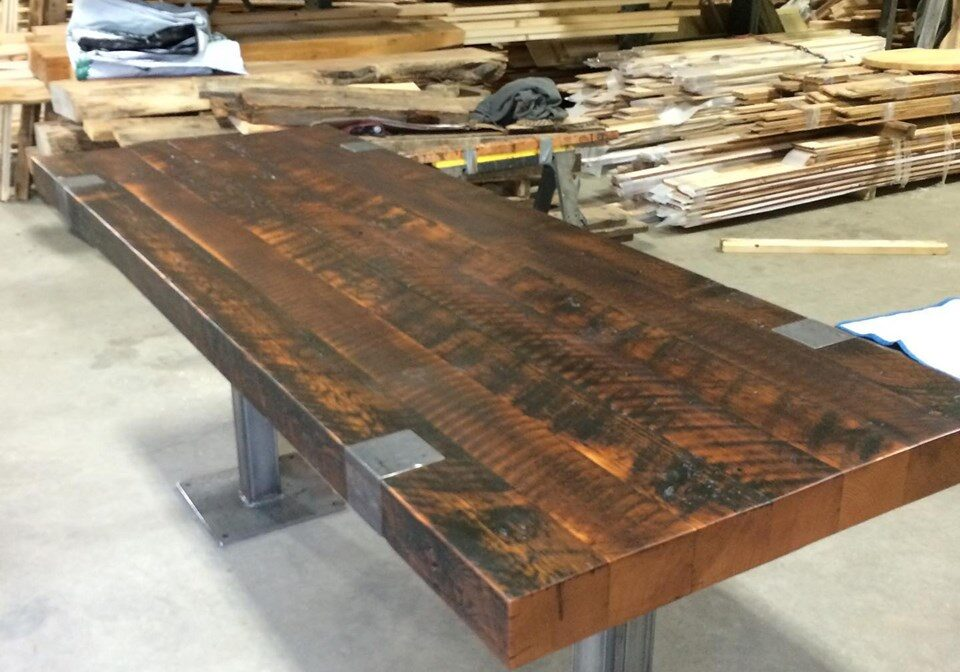 Reclaimed Timber Table Top with custom metal base